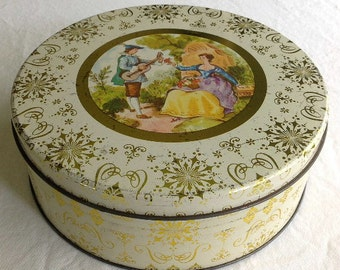 Vintage Round Tin with Scene of Man Serenading Woman