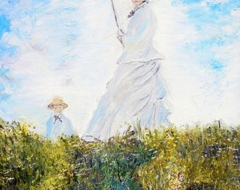 Replica of Monet's The Promenade, Woman with a Parasol  - 100% hand painted oil on canvas