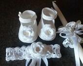 christening set, Baby girl christening crochet set , booties, headband, candle skirt ( decoration)