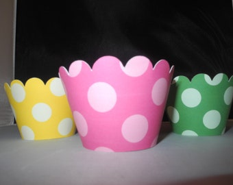Baby Shower Cupcake Wrappers  Girl Polka Dots Pink Green Set of 12 Girlie