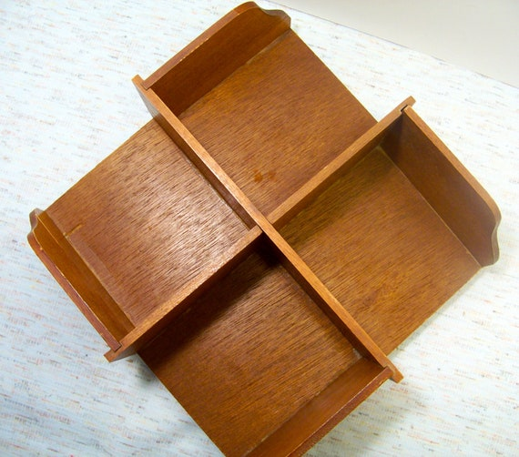 Vintage Bookshelf Desktop / Mod Craft Supply Caddy Revolving / Lazy Susan /  Retro Office Supply - Vintage Bookshelf Desktop / Mod Craft Supply Caddy Revolving /