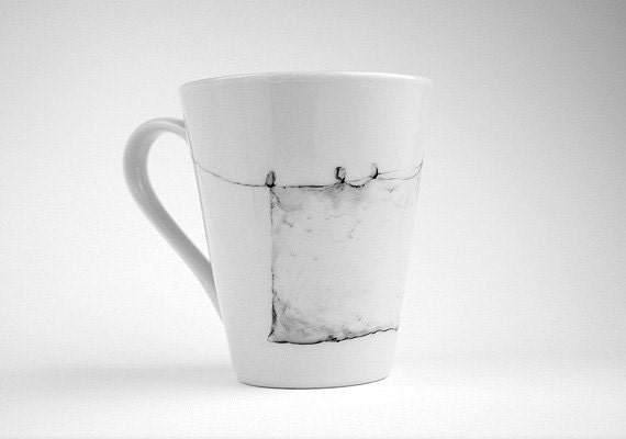 Pale gray cup mug with decor Hand painted porcelain