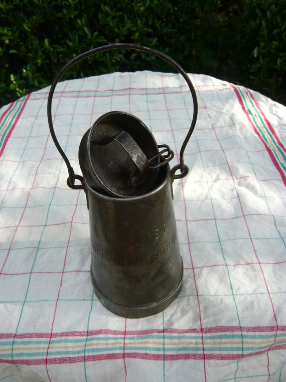 SALE,antique,rare, exceptional french tin milk can of 1800s,engraved with a name or mark L.DUMOGET and address.FREE shipping