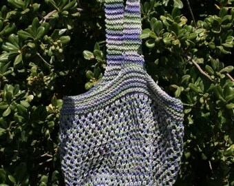 Hand Knit Market Bag in Purple Cotton