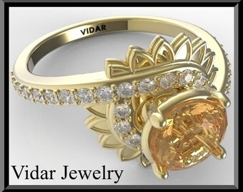 Flower Engagement Ring,Yellow Sapphire Engagement Ring,Floral engagement Ring,Lotus Engagement Ring,Unique Engagement ring,Custom Ring,Vidar