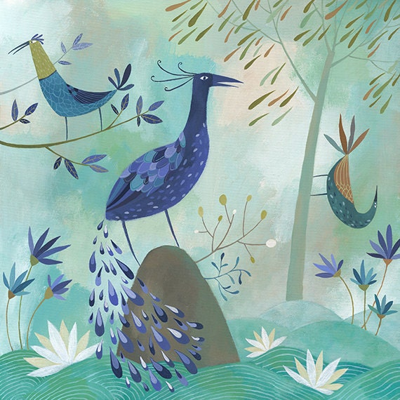 Birds Of A Feather. Open edition Giclee print by Tracie Grimwood.