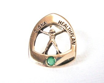 Vintage 10K Gold Cigna Healthplan Employee Pin With Simulated Emerald