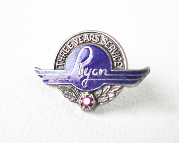 Vintage Royal Blue Enamel Sterling Silver Ryan Aeronautical Co. Employee Pin