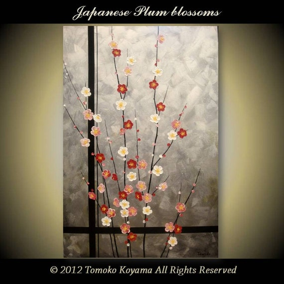 "Original impasto Art  Painting on Canvas 24"" x 36"", Home Decor, Wall Art ---Japanese Plum Blossoms--- by Tomoko Koyama"
