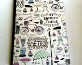 Altered Composition Book - Cute notebook - School note book - Parisian Life