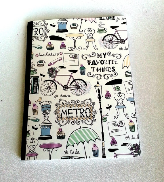 Altered Composition Book - Cute notebook - School note book - Parisian