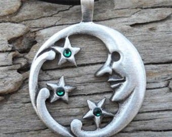 Pewter Moon Face and Stars Lunar Celestial Pagan Pendant with Swarovski Crystal Emerald Green MAY Birthstone (39E)