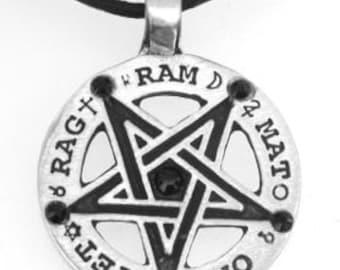 Pewter Inverted Pentagram Tetragrammaton Runes Pendant with Swarovski Black Onyx Crystal (55C)