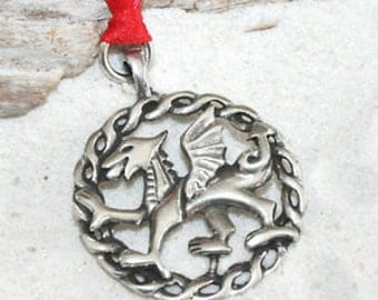 Pewter Wales Red Dragon Welsh Flag Christmas Ornament and Holiday Decoration (24G)
