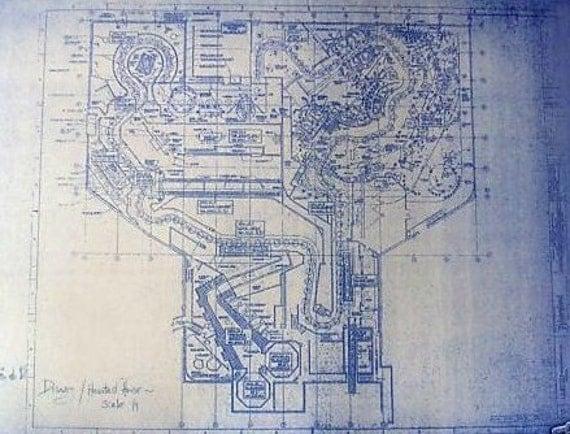 Disneyland Haunted Mansion Ride Plan Blueprint By