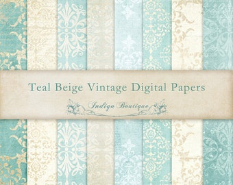 Teal Beige Vintage Digital Papers -  for Photographers, Scrapbooking and Card Making ID016, Instant Download
