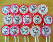 30 ct Hello Kitty Personalized Cupcake Toppers Birthday Party Favors Decoration Supply