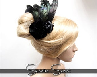 1920s Headpiece,  Gatsby Flapper Hair Comb, Feather Hair Comb, Gatsby Flapper Headpiece, Race Fascinator, Wedding Bridal Hair Comb