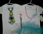 CLEARANCE- Twin boy/girl Aqua/Pink onesies with necklace and tutu or tie and back pockets. Purple Tutu Onesies with necklace.