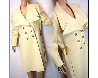 Vintage 1960s Coat Designer Original Double Breasted Jacket Creme Mad Man Garden Party Rockabilly Retro Femme Fatale Jackie Kennedy