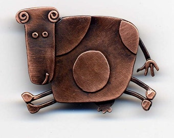 Cow Brooch in Copper Finish