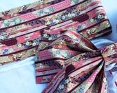 Red Batik & Japanese Motif Women's Ribbon Pre-tied Obi