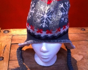 Earflap Knit Hats, Nordic Look  Ornamented, Blizzard, Snow, cold, Snowflake