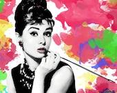Audrey Hepburn digital download Poster Print, breakfast at tiffany's, tiffany, art, modern , pop art, watercolor, colorful art