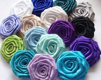 16 Handmade Ribbon Roses In Multicolors  MY-001 -07  Ready To Ship