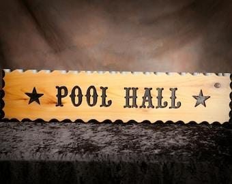 Carved rustic sign,  carved western sign,  pub sign, billiards sign.