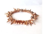 Rose Gold Spike and Pave Rhinestone Cluster Bracelet