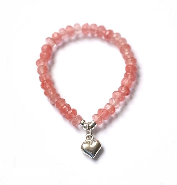 Tourmalin bracelet: Watermelon / pink tourmalin bracelet with silver heart pendant (sweet sixteen gift / valentines day)