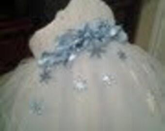 Christmas Elegant Snow Angel Snowflake Tutu Dress Costume with matching hair piece.
