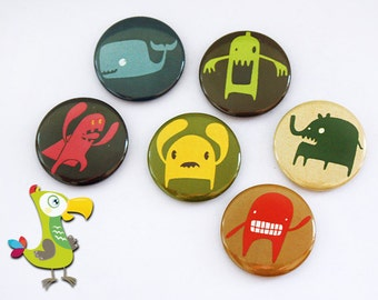 6 Monster buttons - small pin