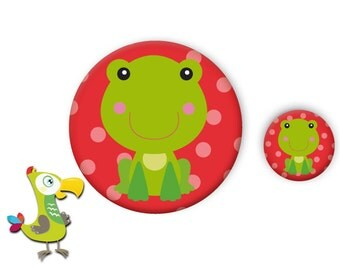 Frog button and mirror set