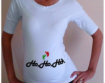 "Christmas Maternity Shirt/Tee  "" Ho,Ho,Ho!""  , maternity clothes, christmas."
