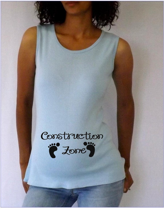 Funny Light Blue Maternity Tank Top Construction