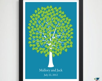 Lovely Wedding Tree Guest Book // Wedding Love Tree // Alternative Personalized Keepsake Print // 180 Signature Leaves - 20x30 HeartLeaf
