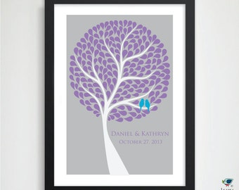 Custom Wedding Tree Guest Book Alternative // Personalized Enchanted Wedding Signature Tree Print // Bridal Shower Gift //  24x36 200 Guest