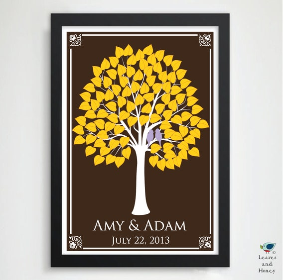 Wedding Guest Signing Tree: Unique Wedding Tree Guest Book Signature Leaves // Wedding