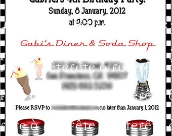 Retro Diner and/or Soda Shop EDITABLE and PRINTABLE Party Invitation - as seen on HWTM