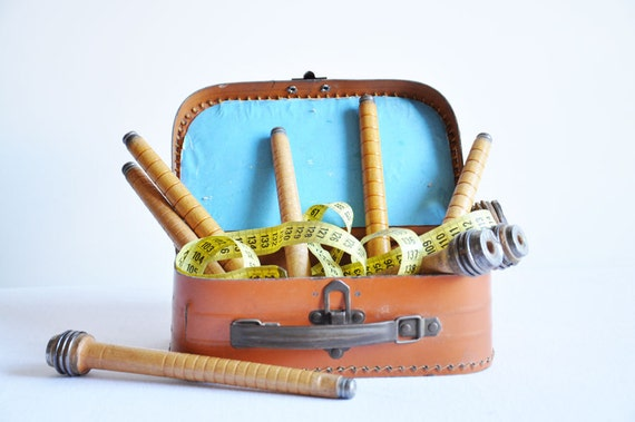 Vintage Factory Wooden Bobbin Spools - Set of 9 - Wooden Spool