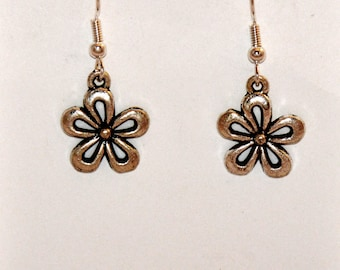Flower Earrings, Silver Flower Earrings, Fashion Jewelry, Charm Earrings