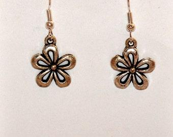 Flower Earrings, Silver Flower Earrings, Fashion Jewelry, Charm Earrings