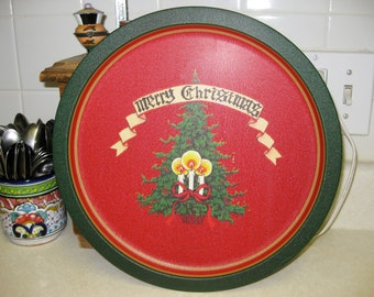 Vintage Red Green Holiday Merry Christmas Tray Midcentury Darling Cookie Server