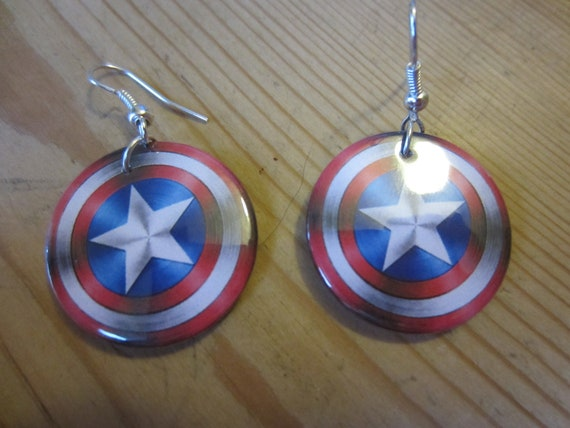 captain america earrings captain america shield button earrings 4956