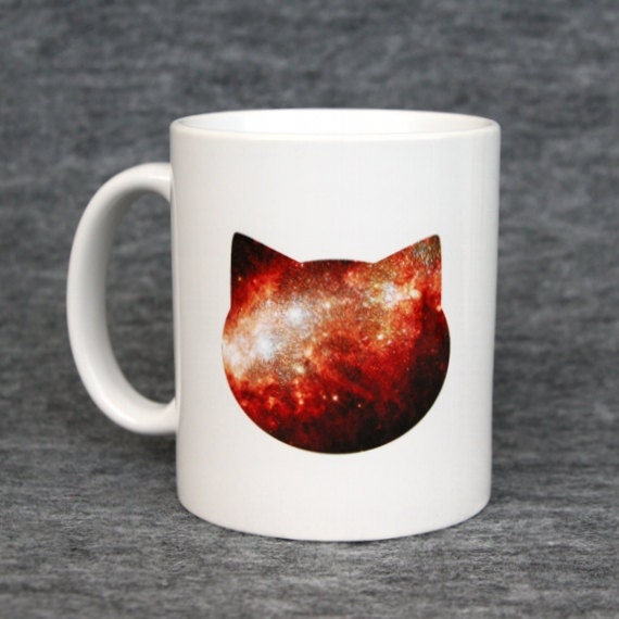 Classic mug with galaxy cat print - red