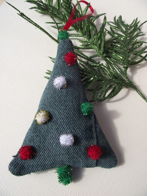 Recycled Jeans Christmas Tree Ornament with Pompoms