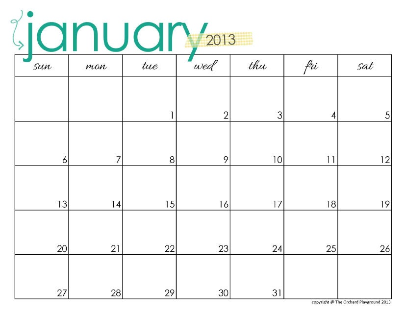 Items similar to 2013 Landscape 8.5x11 Monthly Calendar 1page on Etsy