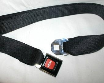 """Black """"Press"""" Buckle-Up Belt"""